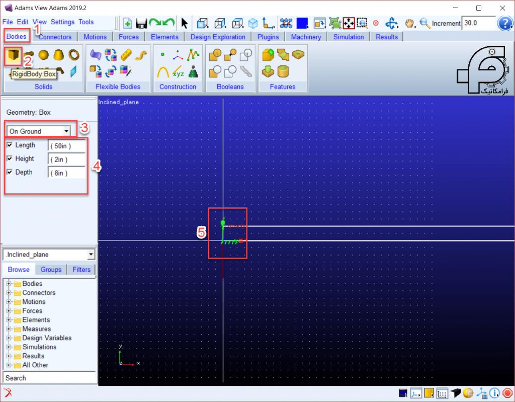 تحلیل دینامیکی جعبه روی سطح شیبدار در نرم افزار آدامز 4